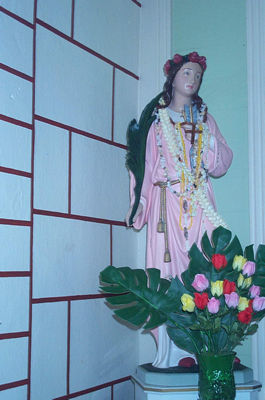 Statue of Saint Philomena in the church of  Saint Joseph Damien de Veuster of Molokai.